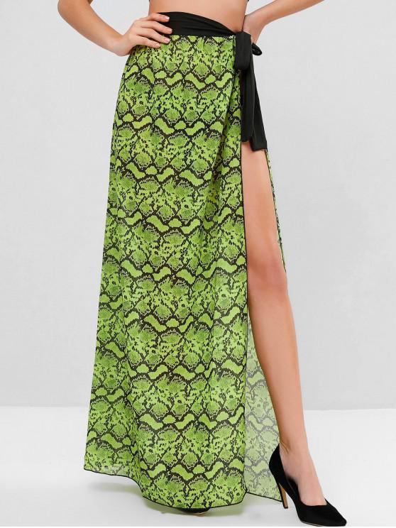 womens Snake Print Chiffon Wrap Skirt - CHARTREUSE ONE SIZE