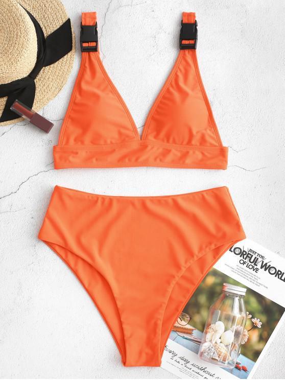 lady ZAFUL Buckle High Cut Plunge Tankini Swimsuit - ORANGE S