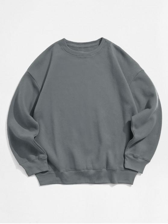 outfit Solid Color Crew Neck Fleece Basic Sweatshirt - GRAY 2XL