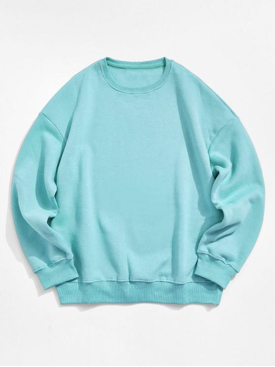 outfit Solid Color Crew Neck Fleece Basic Sweatshirt - LIGHT BLUE L