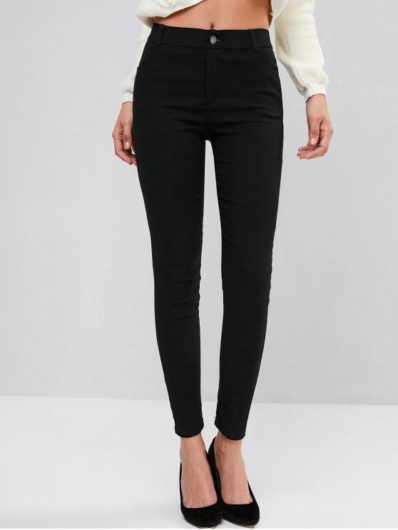 hot Solid Mid Rise Four Pockets Skinny Pants - BLACK M