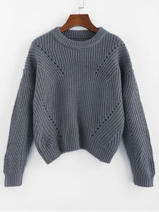 unique ZAFUL Pointelle Crew Neck Drop Shoulder Sweater - BLUE GRAY M