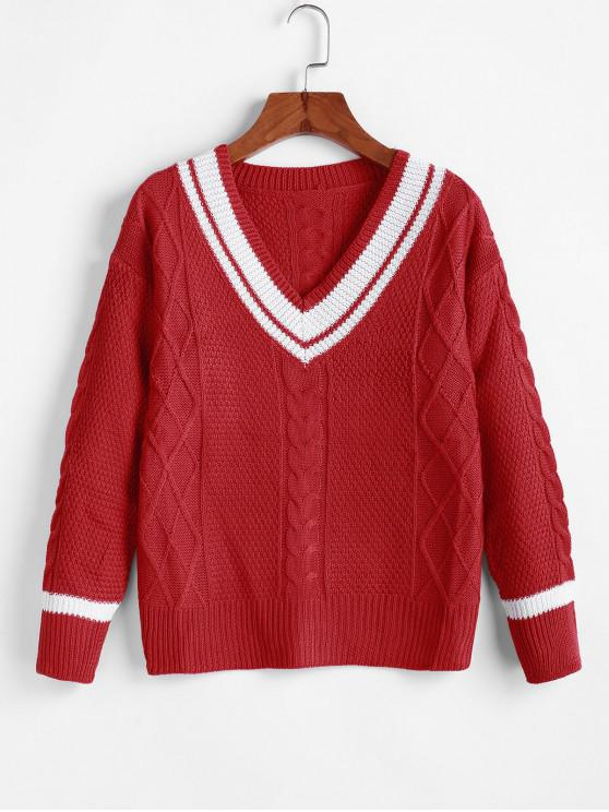 sale Cable Knit Drop Shoulder Cricket Sweater - RED XL