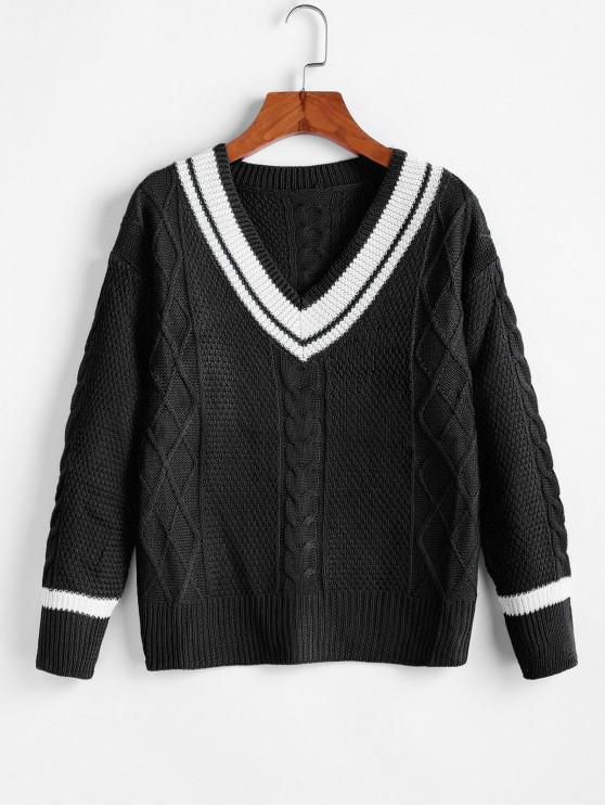 best Cable Knit Drop Shoulder Cricket Sweater - BLACK L