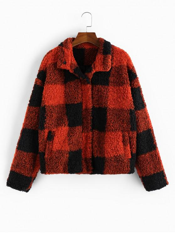 women's ZAFUL Faux Shearling Plaid Pocket Teddy Jacket - MULTI XL