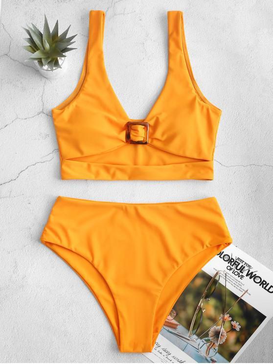 fancy ZAFUL Plunge Cutout High Cut Tankini Swimsuit - SAFFRON L