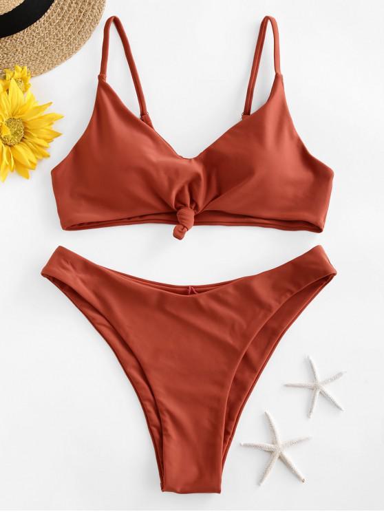 affordable ZAFUL Knot High Leg Bikini Swimsuit - CHESTNUT RED S