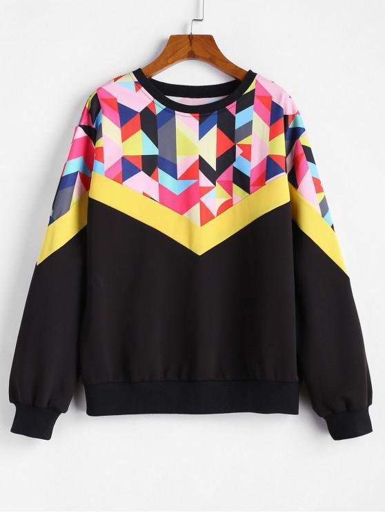 sale ZAFUL Crew Neck Patchwork Sweatshirt - MULTI L