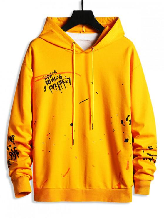 latest Letter Painting Splatter Drawstring Hoodie - YELLOW S