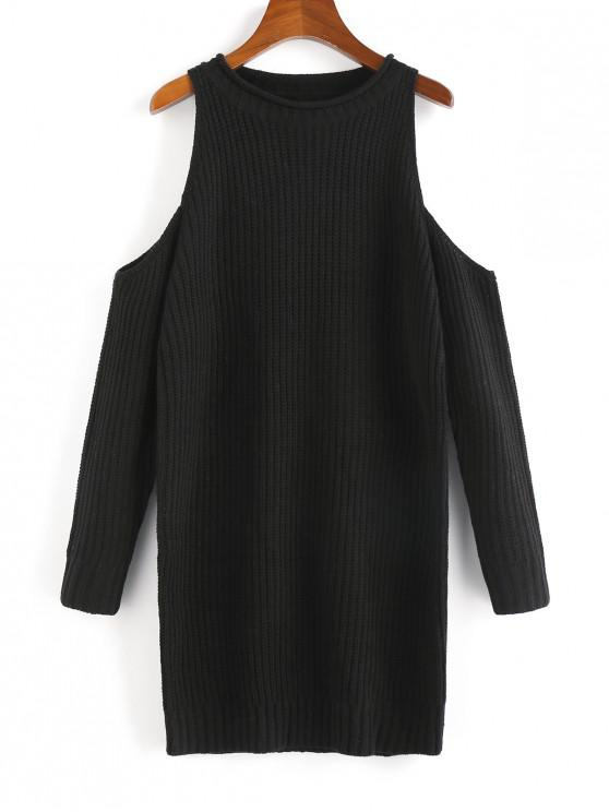 lady Cold Shoulder Mini Sweater Dress - BLACK L