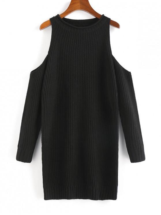 buy Cold Shoulder Mini Sweater Dress - BLACK S