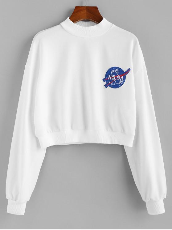 shop ZAFUL Letter Patched Crew Neck Crop Sweatshirt - WHITE M