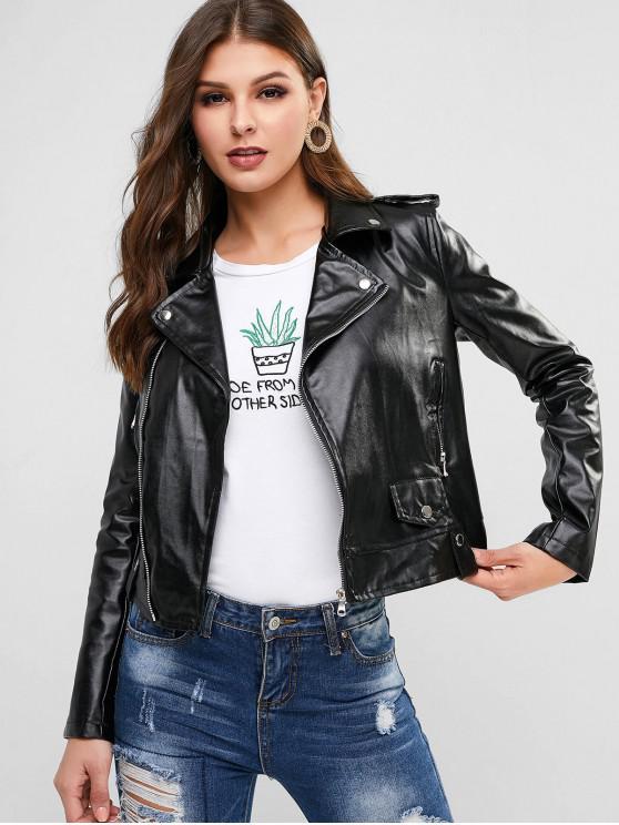 new Zippered Pocket Faux Leather Biker Jacket - BLACK L