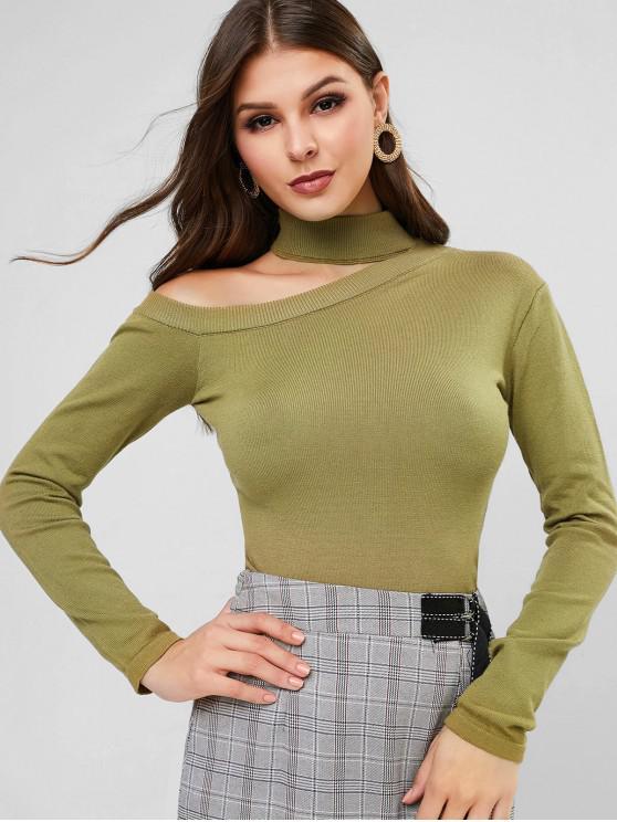 sale Cutout Mock Neck Jumper Sweater - KHAKI ONE SIZE