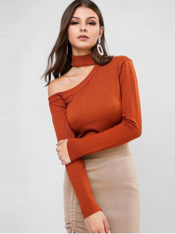 womens Cutout Mock Neck Jumper Sweater - BROWN ONE SIZE