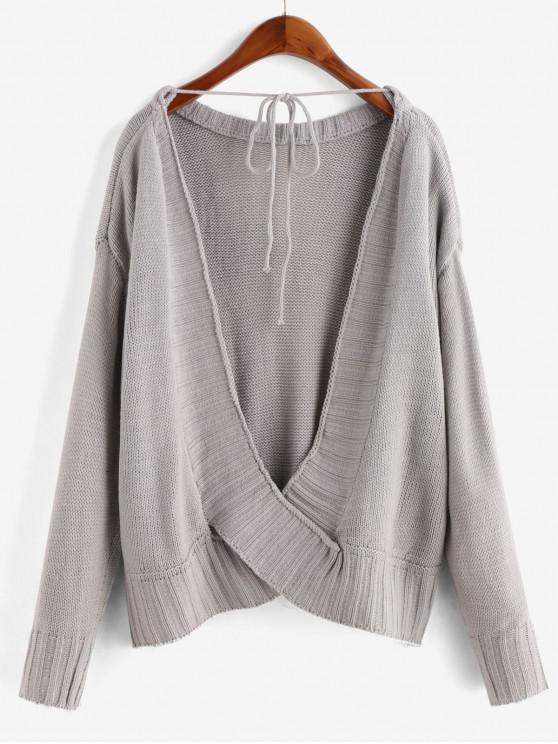 women's Overlap Back Tied Solid Sweater - GRAY L