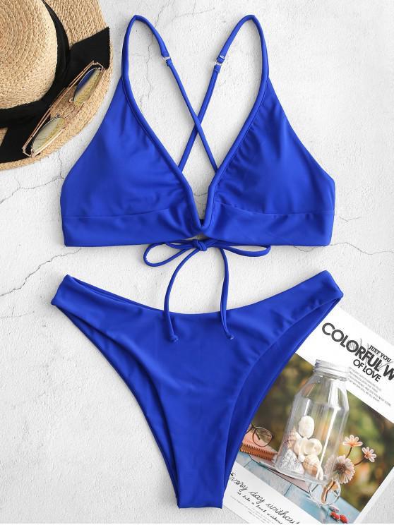 ZAFUL Neon V-wire mare cruce Cut Bikini Swimsuit - Albastru M