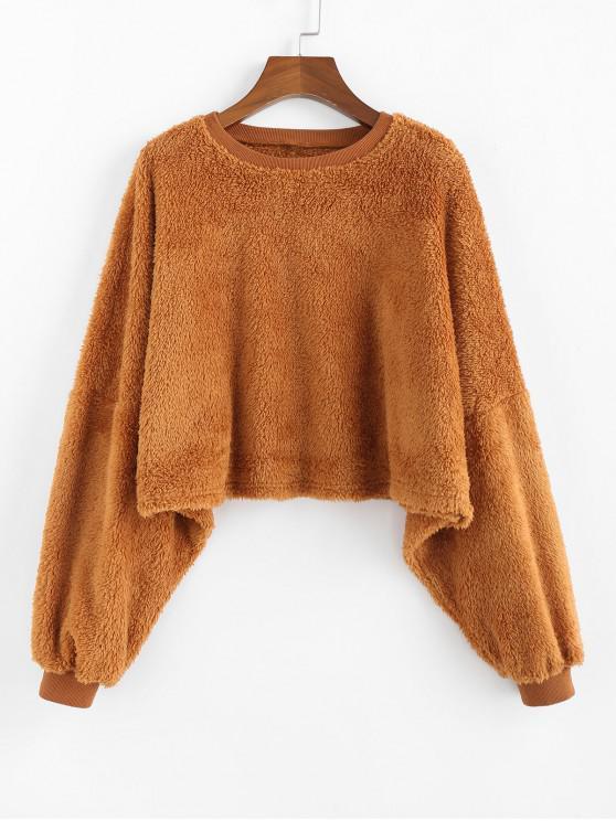 womens ZAFUL Drop Shoulder Faux Fur Crop Sweatshirt - CARAMEL XL