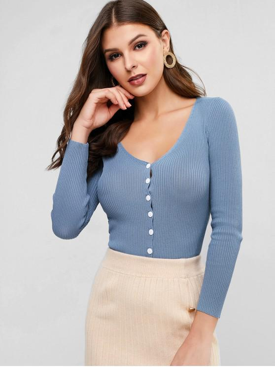 women V Neck Ribbed Slim Single Breasted Cardigan - BLUE ONE SIZE