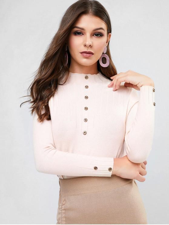 womens High Neck Plain Buttoned Slim Sweater - LIGHT KHAKI ONE SIZE