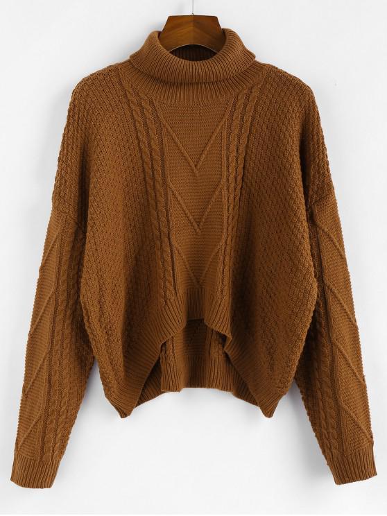 shop ZAFUL Drop Shoulder High Low Turtleneck Sweater - COFFEE L