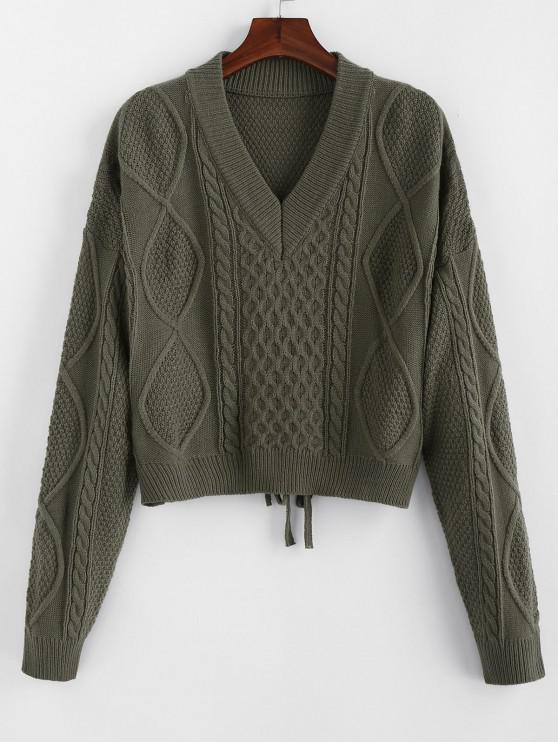 fancy ZAFUL V Neck Drop Shoulder Tie Back Sweater - GRAYISH TURQUOISE M