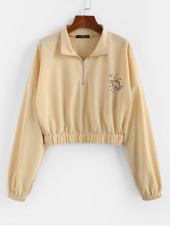 ZAFUL Sweat-shirt Court Graphique Planète à Demi-Zip - Abricot S
