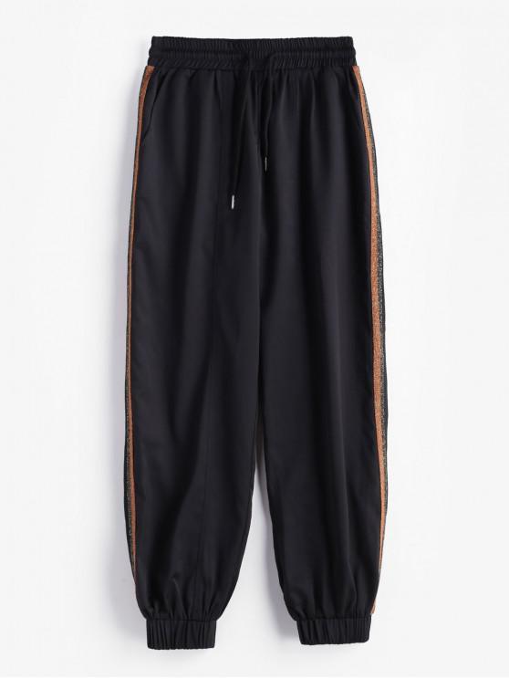 best ZAFUL Side Metallic Thread Striped Jogger Pants - BLACK L