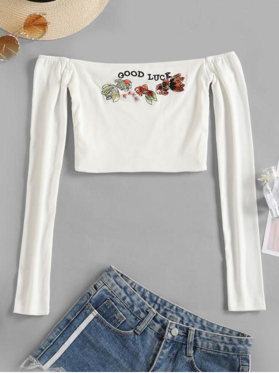 fashion Off Shoulder Embroidered Crop T-shirt - WHITE S