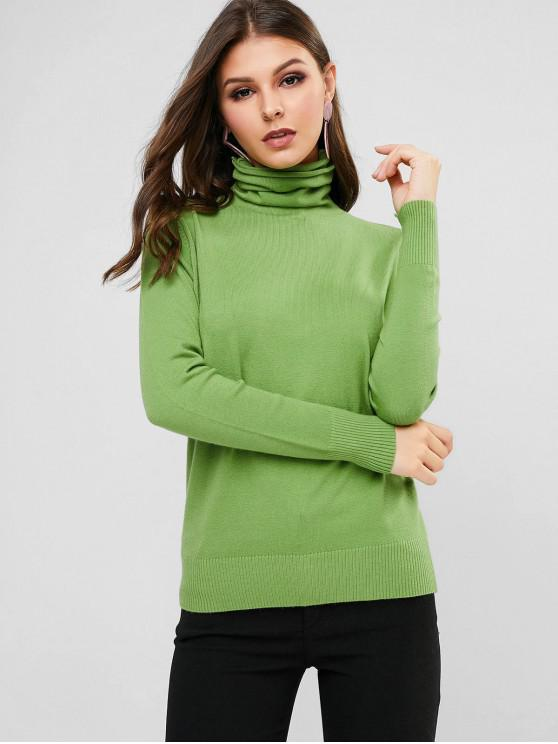 women Solid Ribbed Hem Turtleneck Pullover Sweater - GREEN PEAS ONE SIZE
