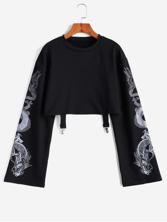 Sweat-shirt Court Dragon Imprimé à Goutte Epaule - Noir S