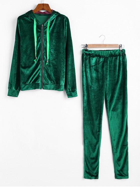 Velvet Panglică Zip Hoodie Pantaloni Skinny Set - Verde S