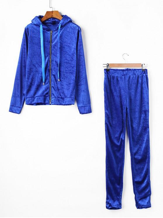 lady Velvet Ribbon Zip Hoodie and Skinny Pants Set - BLUE S