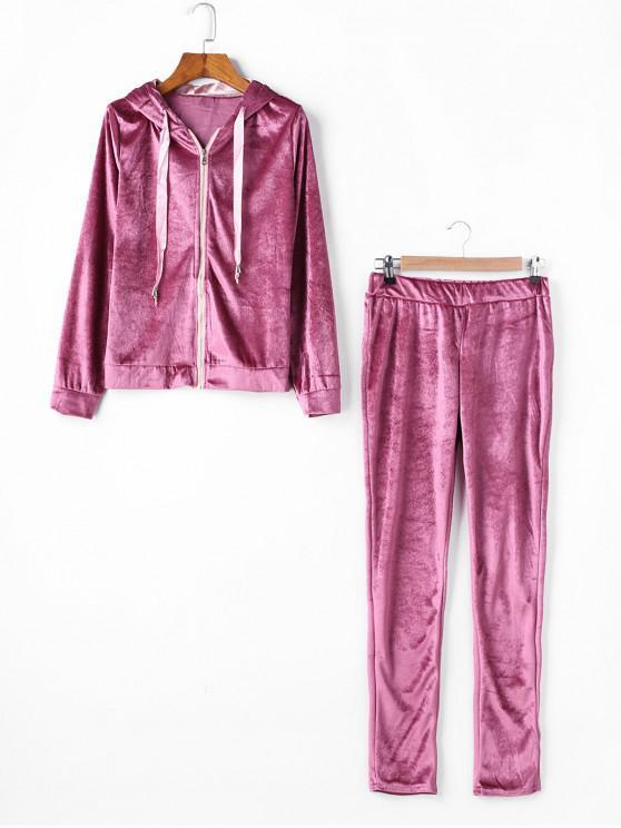 Velvet Panglică Zip Hoodie Pantaloni Skinny Set - Roz S