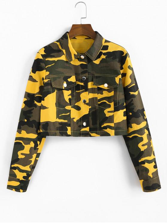 unique ZAFUL Pockets Camo Print Short Jacket - ACU CAMOUFLAGE L