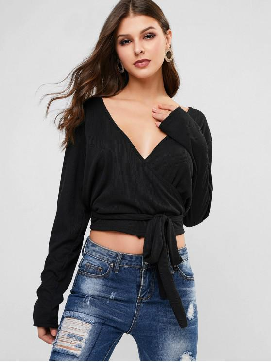 outfits Knotted Cross Front Ribbed Top - BLACK XL