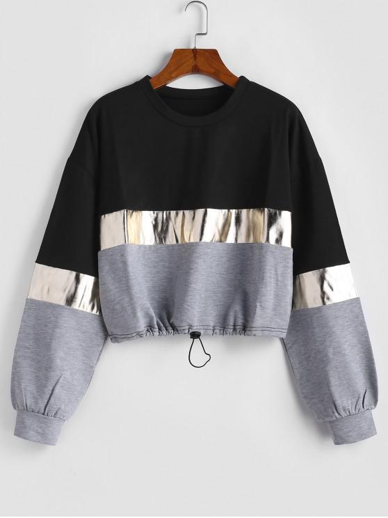 best Color-blocking Metallic Toggle Drawstring Sweatshirt - BLACK S