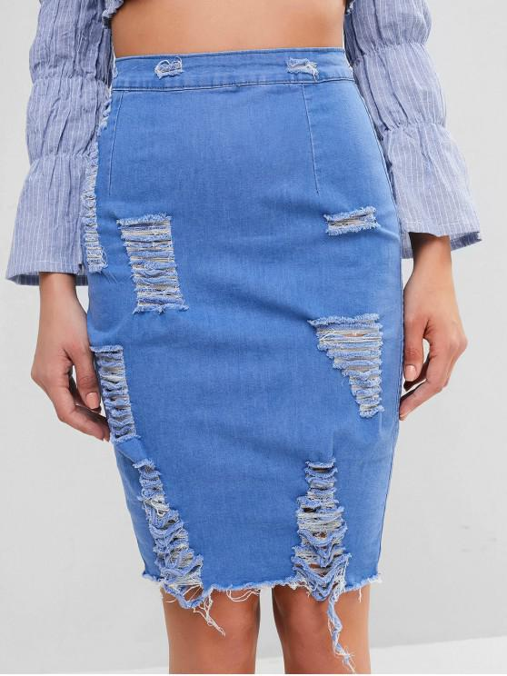 sale Ripped Fitted Denim Skirt - BLUE XL