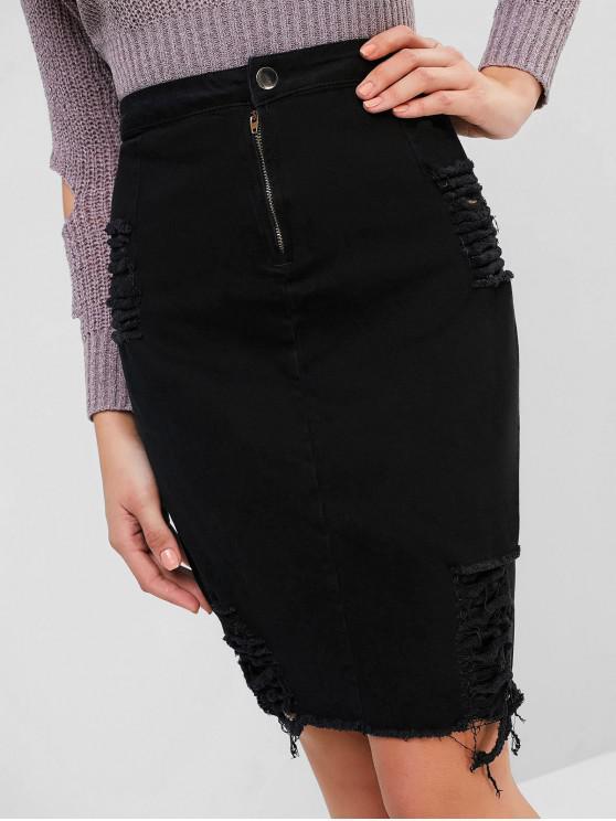 women Ripped Fitted Denim Skirt - BLACK L