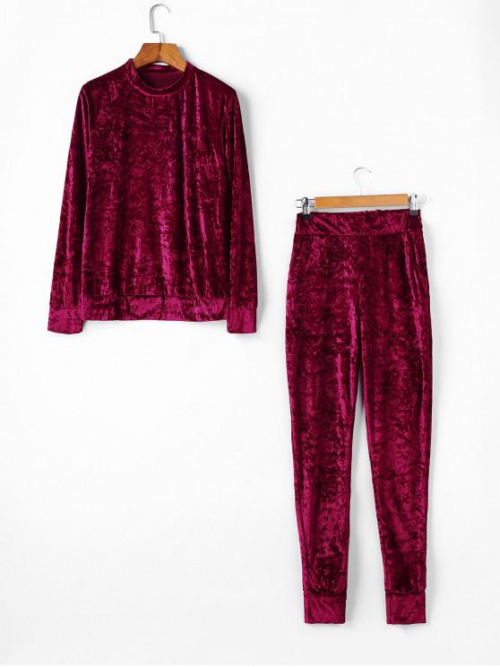 fancy Velvet Crew Neck Pocket Two Piece Jogger Pants Set - RED WINE XL
