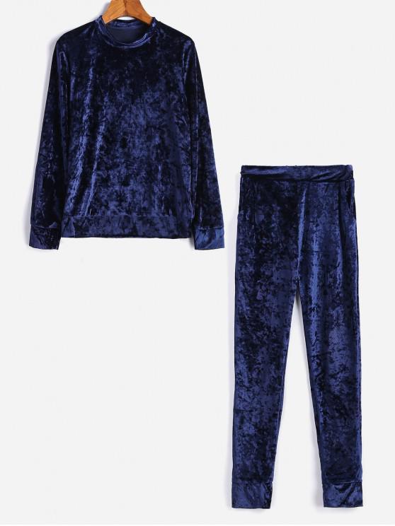 affordable Velvet Crew Neck Pocket Two Piece Jogger Pants Set - BLUE XL