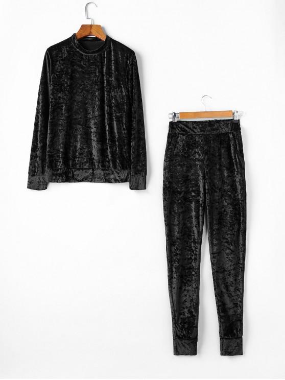 women Velvet Crew Neck Pocket Two Piece Jogger Pants Set - BLACK XL