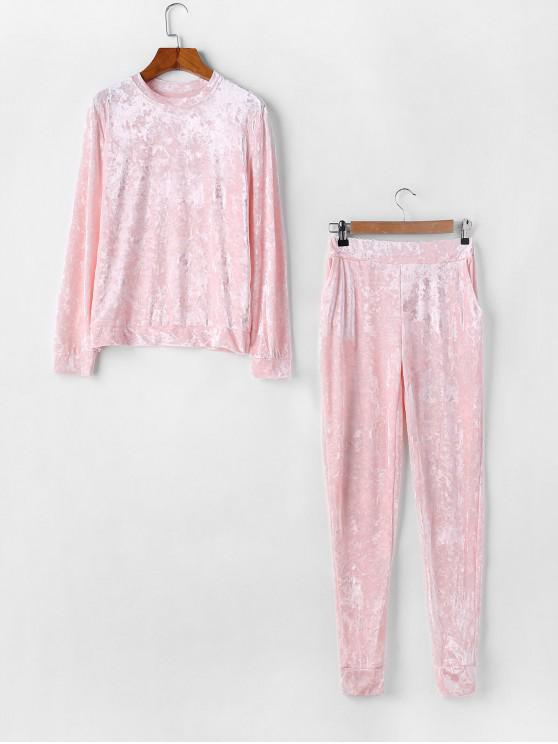 women's Velvet Crew Neck Pocket Two Piece Jogger Pants Set - PINK M