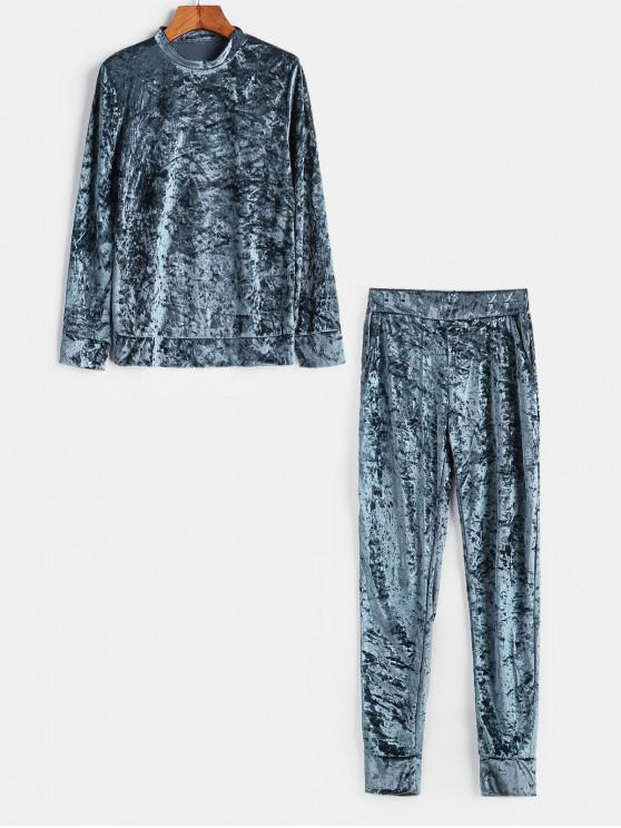 online Velvet Crew Neck Pocket Two Piece Jogger Pants Set - GRAY L