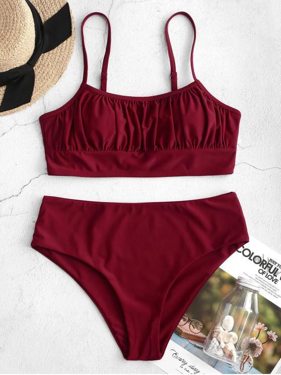 sale ZAFUL High Cut Ruched Cami Tankini Swimsuit - RED WINE L
