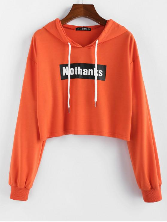 buy ZAFUL Drop Shoulder Cropped Graphic Hoodie - SUNRISE ORANGE XL
