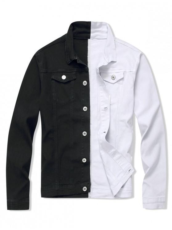 buy Contrast Color Button Design Casual Jacket - MULTI M