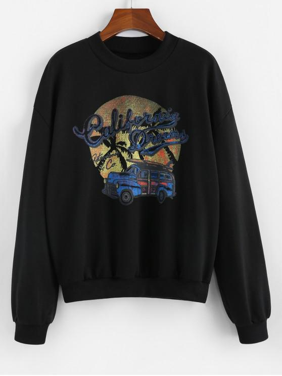 outfit ZAFUL Car Letter Graphic Crew Neck Sweatshirt - BLACK XL