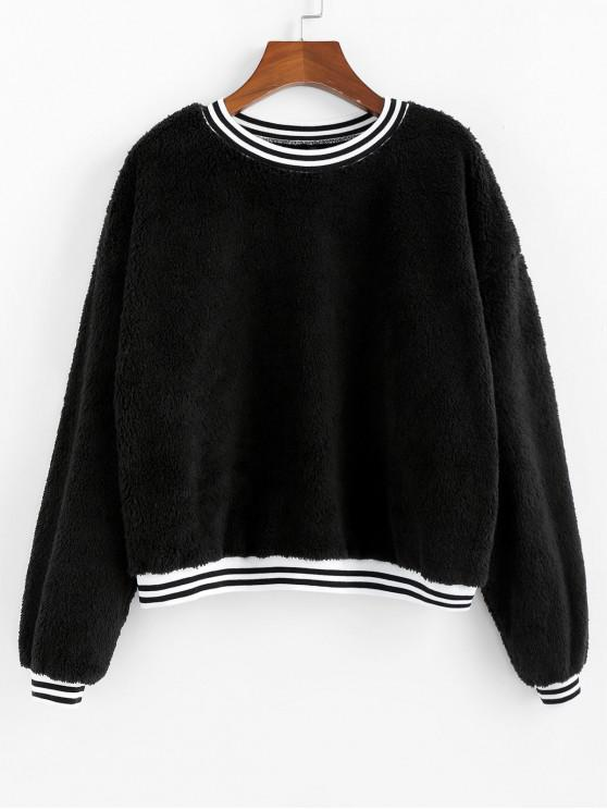 fancy ZAFUL Striped Hem Drop Shoulder Teddy Sweatshirt - BLACK L