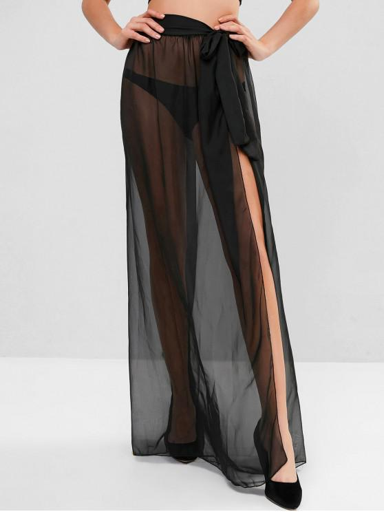 fancy Sheer Tie Maxi Wrap Skirt - BLACK ONE SIZE